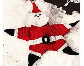 Crochet Christmas Pattern Vintage Crochet SANTA STAR Ornament Christmas Crochet Santa Ornament Crochet Christmas Ornament Pattern
