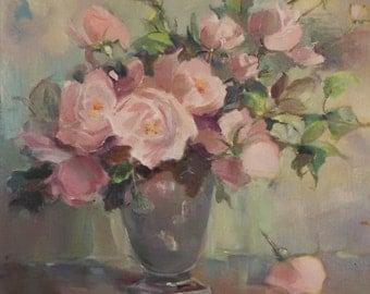 Alice Estelle James, Floral Still LIfe oil on board, vintage frame, American Impressionism