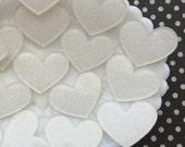 Laser cut acrylic hearts - White Glitter Heart Cabochon Lot - kawaii decoden cabochons