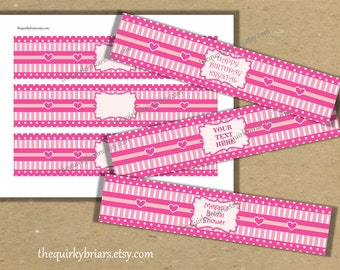 Electric Pink / Baby Pink / Pink Hearts / Stripes / Polka Dots / Water Bottle Labels / Printable PDF / Editable MS Word / Instant Download