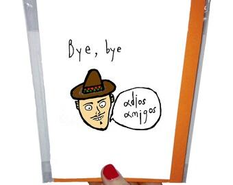 Orange Forest goodbye card. 10.5 x 14.8 cm