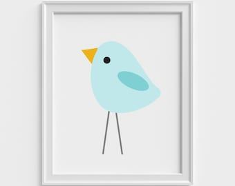Blue Bird art print, art prints for kids, wall decor art prints, kids art print, nursery decor, children art print, nursery wall art