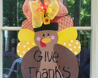 Turkey door hanger.  Fall Door Hanger. Thanksgiving Door Hanger
