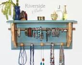 Jewelry Storage Organizer, Birch Wood Shelf, Shabby Chic Hanging Wall Mount Jewelry Organizer with Bracelet Bar, Bohemian Decor Storage Orga