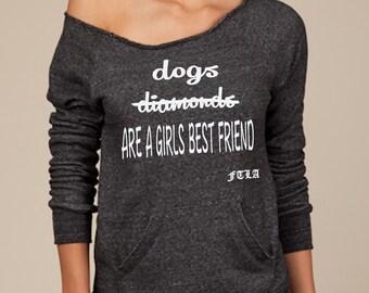 Eco-Fleece Off the Shoulder Sweatshirt – Dogs Are A Girls Best Friend