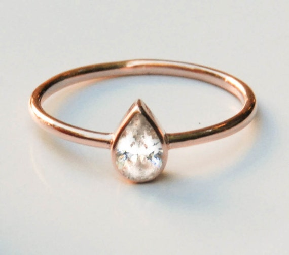 14k Rose Gold Ring Rose Gold Engagement Ring by eleajewelry