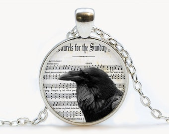 Raven with music Sheet Vintage Glass pendant. Raven Music Bird Necklace. Vintage jewelry, birthday gift
