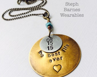 The best life ever necklace in bronze and pewter with turquoise detail