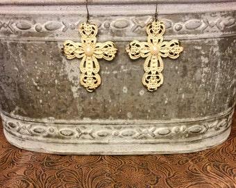 Antiqued Cross Earrings