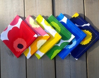 Cloth napkins made from Marimekko fabric Unikko, modern table or picnic napkins, floral dinner napkins, reusable cotton napkins set