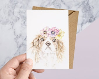 UP TO 40% OFF - Cavalier King Charles Spaniel with Floral Crown Greeting Card