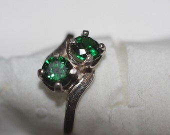 Handmade Genuine Green Tourmaline Twin Stone Ring in Sterling Silver Sz 7