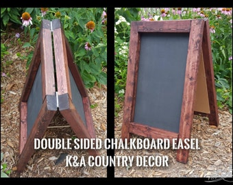 Double Sided Chalkboard Easel - Rustic Country Decor