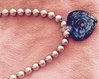 Swarovski pearl necklace with glass pendant