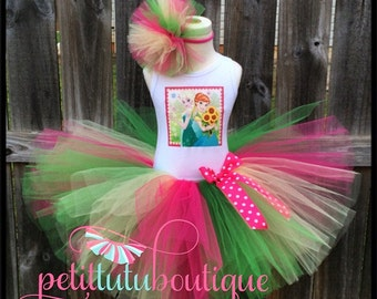 Frozen Fever Birthday Tutu set any size available 12m to 10/12y FREE Personalization Name and Age