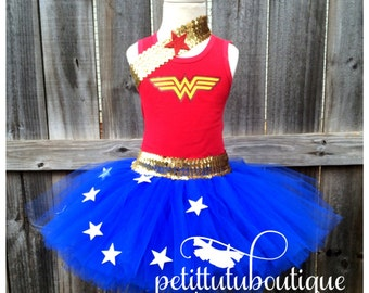 Wonder Woman Costume or Birthday Tutu set any size available 12m to 10/12y Super Hero