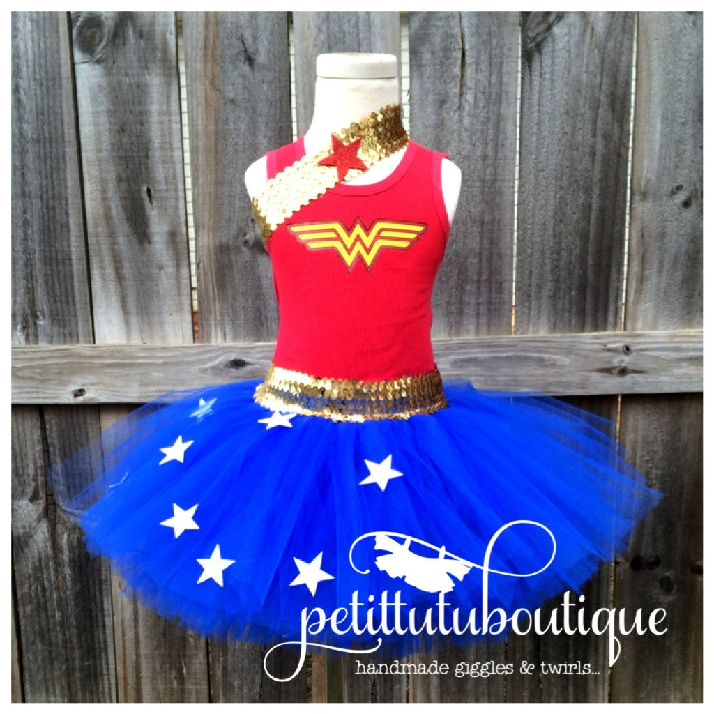 Wonder Woman Costume Or Birthday Tutu Set Any Size Available