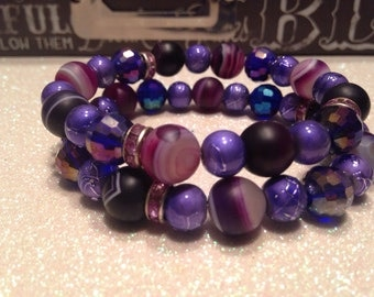 SALE *****Purple Jade / mixed bead Beaded Bracelet Set-Stackable-Sparkle Spacer-Wrist Glam