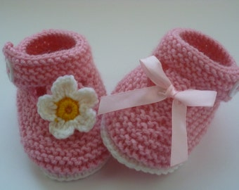 Pink, bow, flower, Handmade Baby Shoes,  Baby Booties, Baby Girl Shoes, Baby Shoes, baby girl shoes