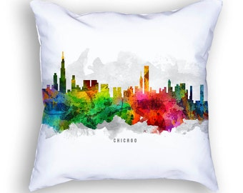 Chicago Pillow, 18x18, Chicago Skyline, Chicago Cityscape, Chicago Throw Pillow, Cushion, Home Decor, Gift Idea, Pillow Case 12