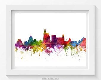 Jackson Mississippi Skyline Poster, Jackson Cityscape, Jackson Art, Jackson Decor, Home Decor, Gift Idea 06