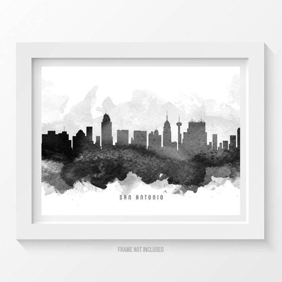 san antonio skyline poster san antonio cityscape san antonio san antonio texas horizontal skyline print modern