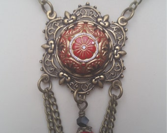 Victorian Button Pendant/Vintage Czech glass button Cabochon/red, black &gold/Swarovski Crystal Necklace, Victorian Necklace, Handmade,OOAK