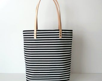 Black and White Striped Canvas Tote with Leather Straps