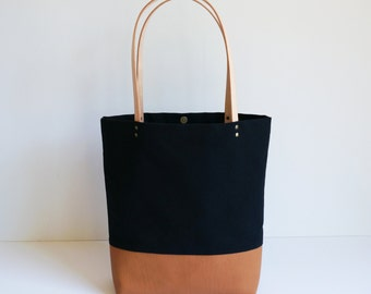 Black Canvas Leather Tote