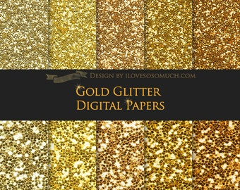 Gold Glitter Digital Paper Pack - Instant Download - DP056