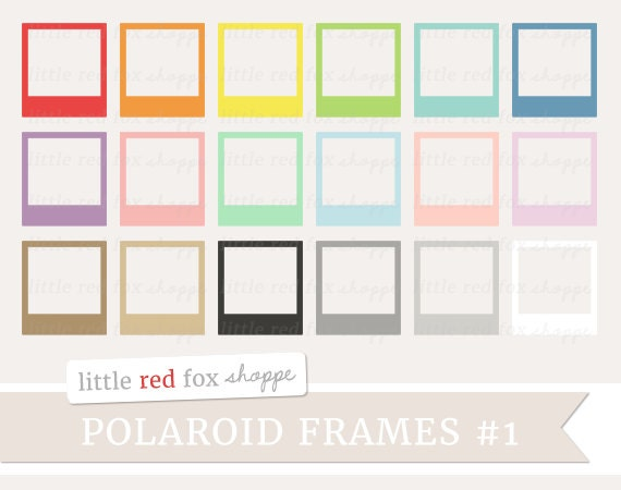 polaroid frame clipart picture frame clip by littleredfoxshoppe. Black Bedroom Furniture Sets. Home Design Ideas