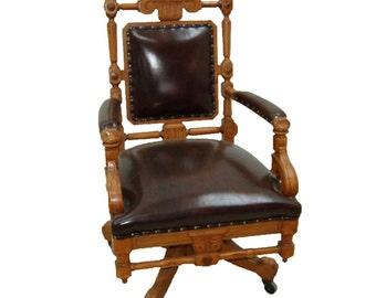 7768C American Eastlake Oak Swivel Chair