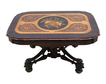 7283 American Rosewood Renaissance Revival Inlaid Berkey and Gay Coffee Table