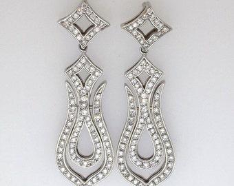18K White Gold Diamond Drop Dangle KG Designer Openwork Earrings