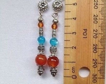 Orange and Blue Gemstone beads with Tibetan silver dangle Earrings