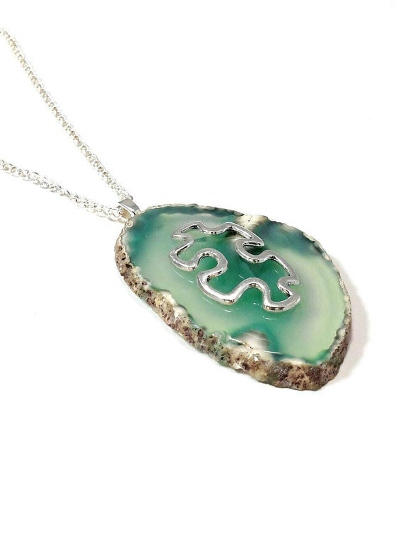 autism necklace autism jewelry agate necklace autism by