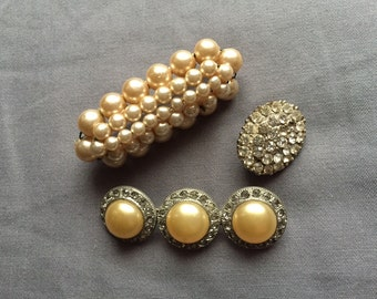3 pearl and rhinestone vintage pins - mixed lot