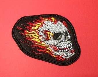Iron on Sew on Patch:  Flaming Skull