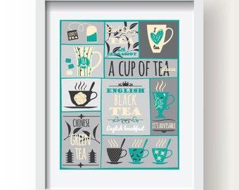 Teal, Beige, Grey Tea Poster, Kitchen poster, Kitchen Decor, Kitchen Tea print, Tea wall art, Kitchen wall art, Tea decoration, Modern Tea