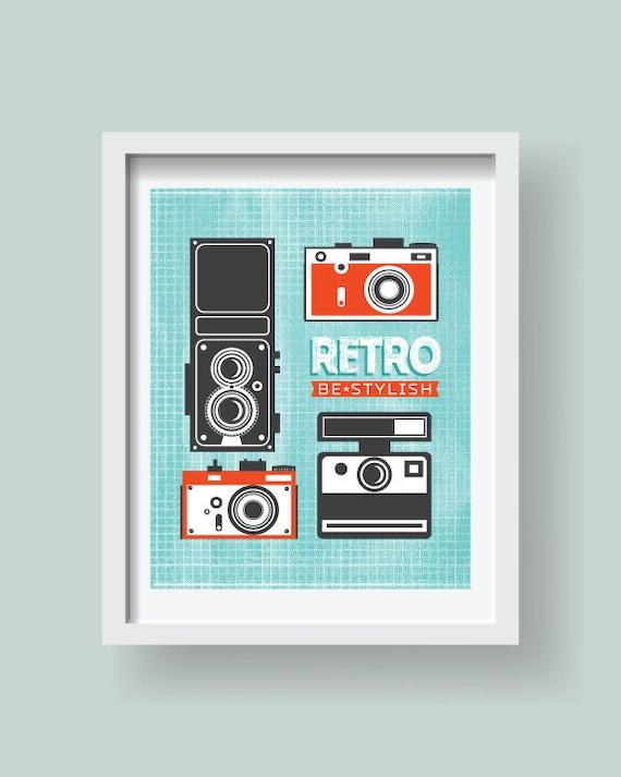 Retro vintage style grunge camera print, retro camera poster,retro ...