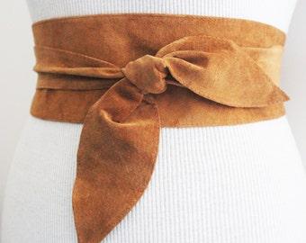 Tan Obi Leather Belt | Tan Suede Obi Tulip Ties Belt | Waist Belt | Sash Tie Belt | Real Suede Leather Belt| Handmade Belt | Plus size belts
