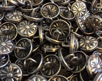 12 mm pewter color metal shank button with palonce cross, set of 10