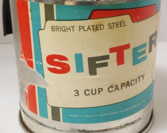 Vintage Aluminum Housewares Two Cup Steel Flour Sifter