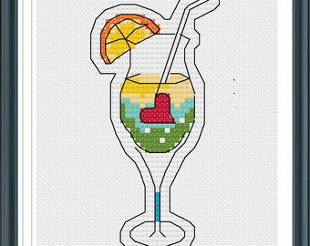 Counted Cross Stitch Patterns, Cold Drink