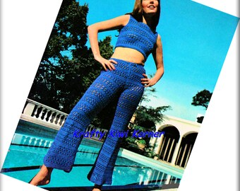 Crochet Vintage-Inspired Pants and Top Summer Suit - Made to Order 20% Discount