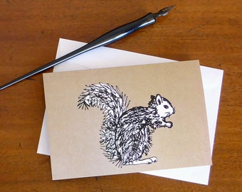 Squirrel Note Card, blank greeting card, small Art Print, cute animal drawing, original art to send or frame