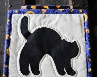 Halloween Black Cat Quilted Wall Hanging