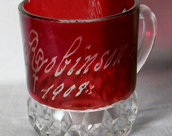 Antique Ruby Stained Ruby Flash Glass Cup - 1908 - Free Shipping