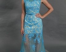 Sheer lace satin belt see through bottom ocean blue evening prom dress, bridesmaid dress