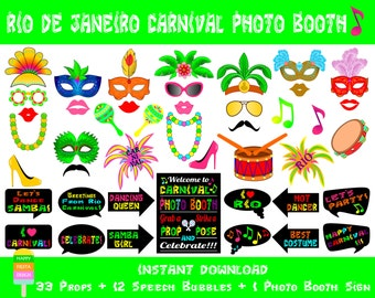 PRINTABLE Rio Carnival Photo Booth Props –Photo Booth Sign-Brazilian Carnival Photo Props-Rio Brazil Carnival Photo Booth-Instant Download